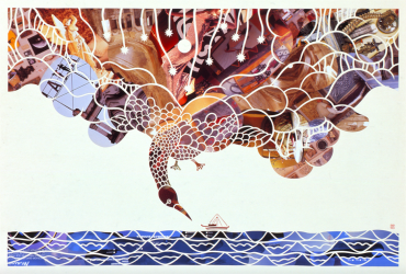 the Day of the Sea (sail), 2009. Japanese handmade paper with collage, 760 x 560 mm.