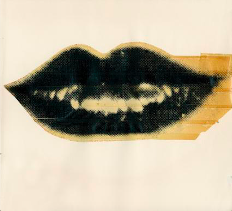 Lips, c. 1975. Unique Screenprint and Tape Collage, 8 x 8.5 inches (AW-L 5). Image Source: The Danziger Gallery.