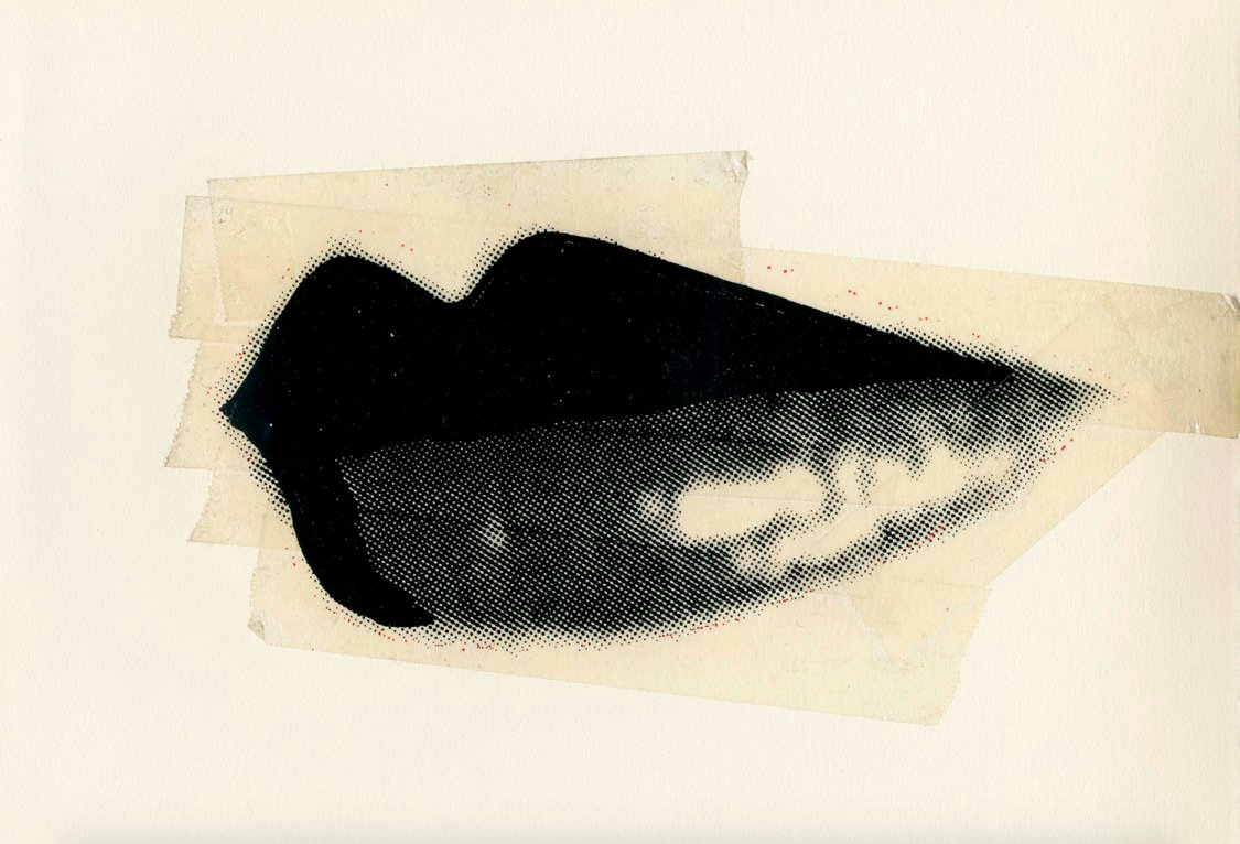 Lips, c. 1975. Unique Screenprint and Tape Collage, 8 x 8.5 inches (AW-L 2). Image Source: The Danziger Gallery.