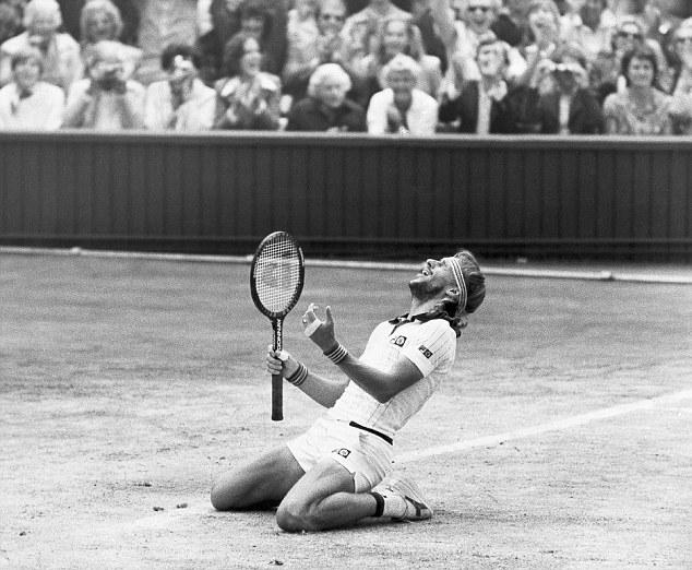 Swedish tennis player Bjorn Borg celebrates his fifth successive Wimbledon triumph after beating John McEnroe in a dramatic four-hour, five set final.