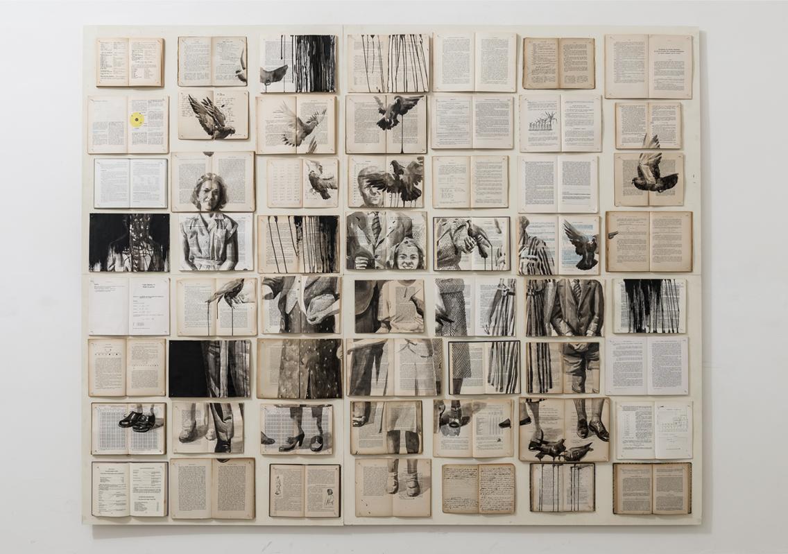 Celestial phenomena. Books, wood, nails, ink, acrylic, 210x260 cm, 2014. Image Source: Z2O Gallery.