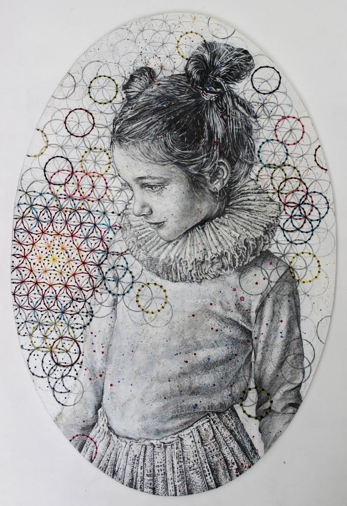 Flower of Life Curiosity, Circles Made up of Cubes Series, 2015. Ink, Graphite, Oil Paints, Acrylics, Thread, 80 X 60 cm.