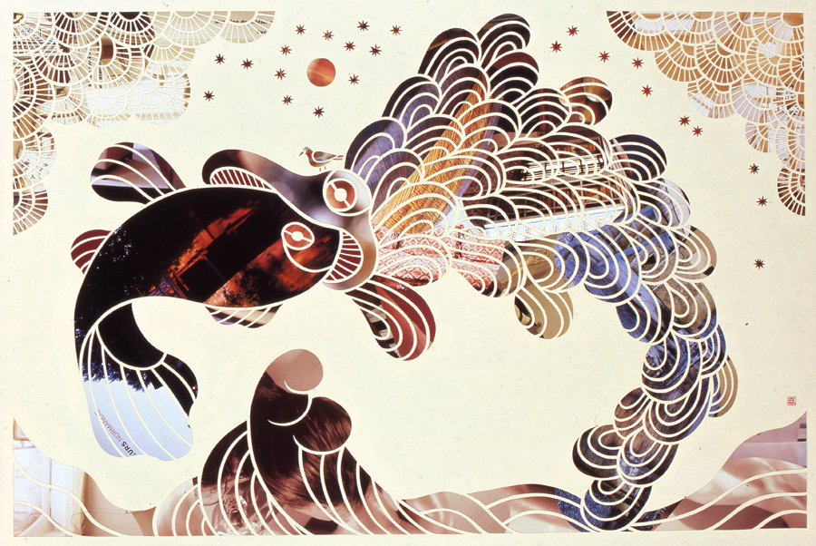 The Day of the Sea #3, 2009. Japanese handmade paper, collage, 760 x 560 mm.
