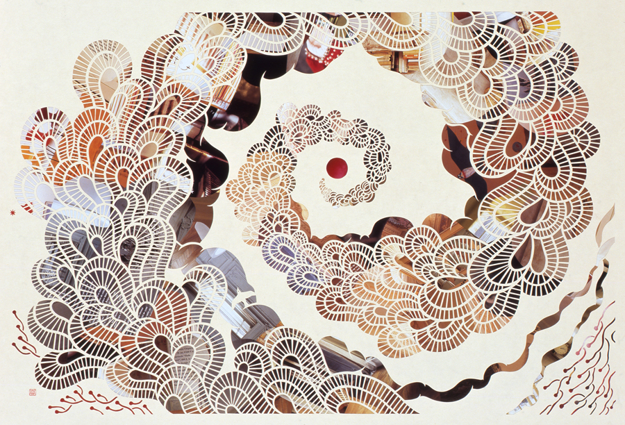 the Day of the Sea (vortex), 2009. Japanese handmade paper with collage,760 x 560 mm.