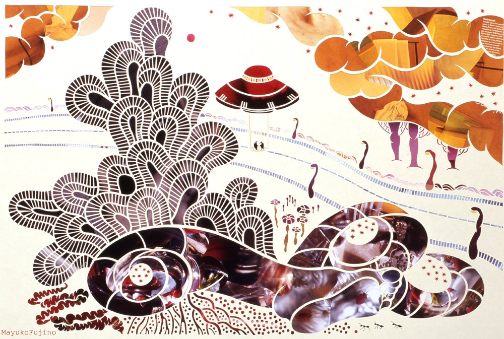 Arikui Abduction #21, 2009. Washi (Japanese handmade paper) with collage, 760 x 560 mm.