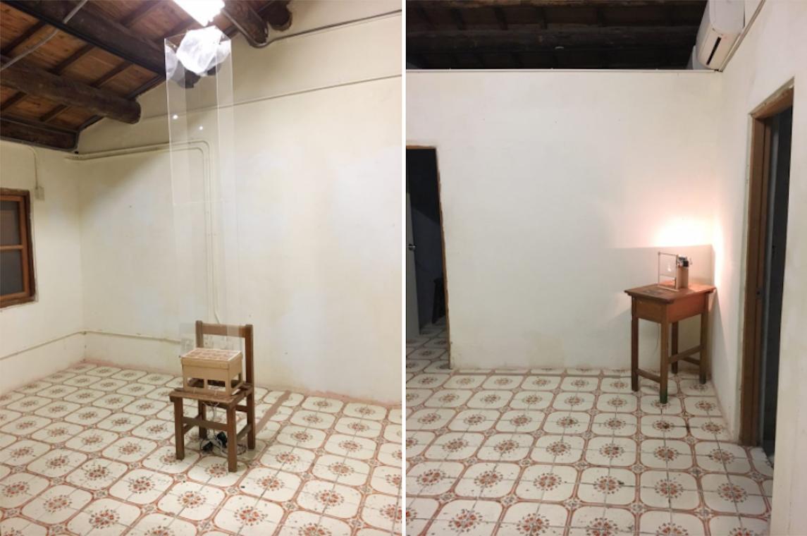片岡純也的作品,Floating Plastic Bag(左) 與 Filament(右)。結合有機的方式(風)與人工製品(塑膠袋),表現出物件內擁有的生命。Photography/ Juliet.